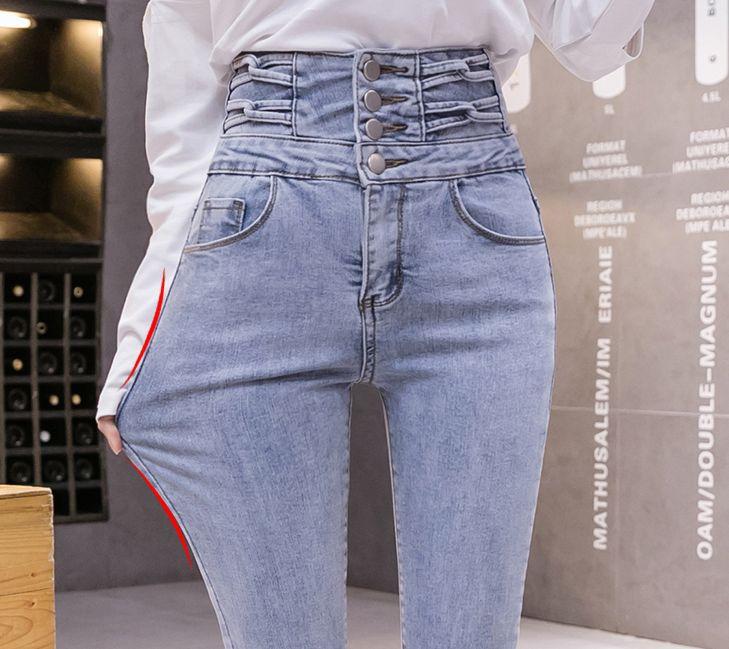 韓国 ファッション パンツ デニム ジーパン ボトムス 春 夏 秋 カジュアル PTXJ774  ハイウエスト レースアップ クロス スキニー オルチャン シンプル 定番 セレカジの写真6枚目