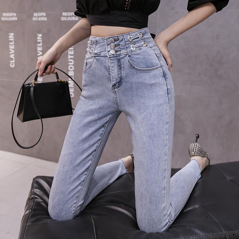 韓国 ファッション パンツ デニム ジーパン ボトムス 春 夏 秋 カジュアル PTXJ781  ベルトマーク ハイライズ カットオフ スキニー オルチャン シンプル 定番 セレカジの写真5枚目