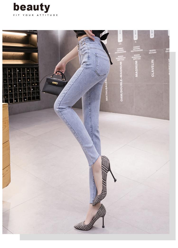 韓国 ファッション パンツ デニム ジーパン ボトムス 春 夏 秋 カジュアル PTXJ781  ベルトマーク ハイライズ カットオフ スキニー オルチャン シンプル 定番 セレカジの写真7枚目
