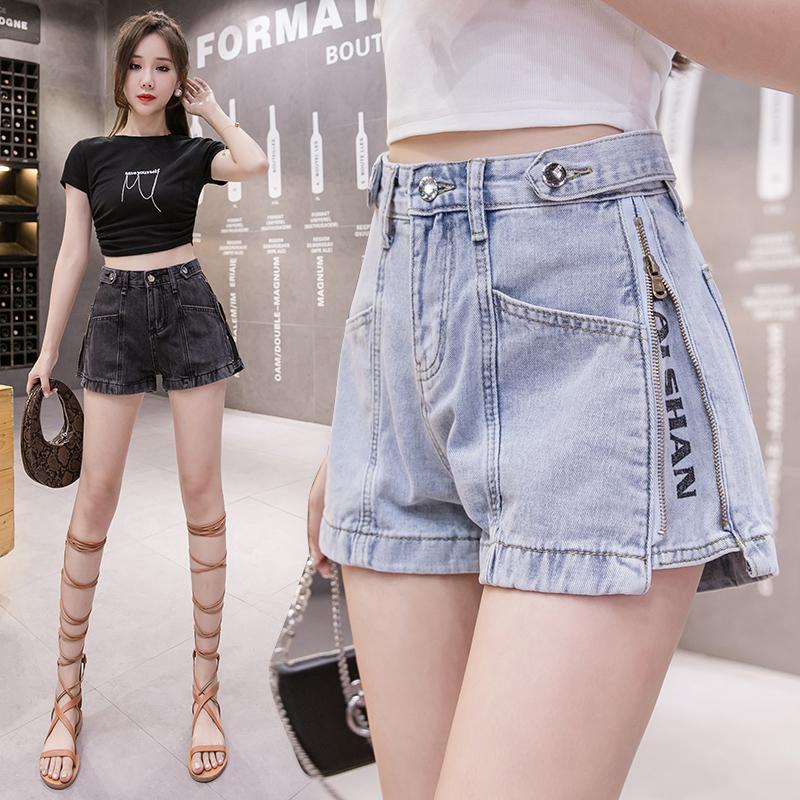 韓国 ファッション パンツ ショート ボトムス 春 夏 秋 カジュアル PTXJ787  ハイライズ ジップ ロゴ ショーパン オルチャン シンプル 定番 セレカジの写真5枚目