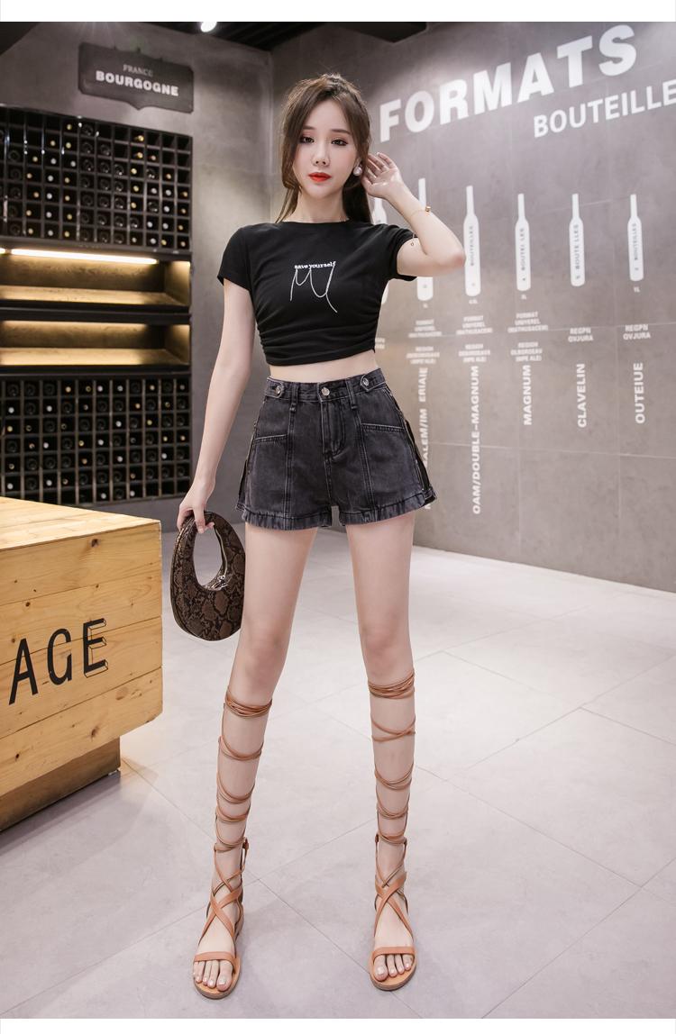 韓国 ファッション パンツ ショート ボトムス 春 夏 秋 カジュアル PTXJ787  ハイライズ ジップ ロゴ ショーパン オルチャン シンプル 定番 セレカジの写真8枚目