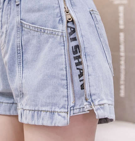 韓国 ファッション パンツ ショート ボトムス 春 夏 秋 カジュアル PTXJ787  ハイライズ ジップ ロゴ ショーパン オルチャン シンプル 定番 セレカジの写真15枚目