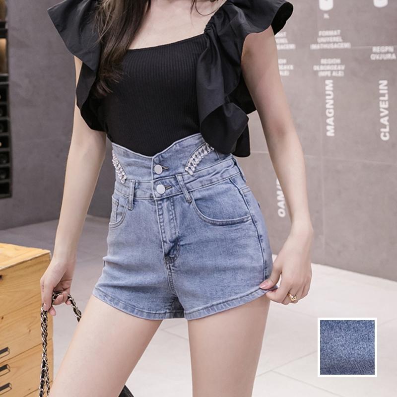 韓国 ファッション パンツ ショート ボトムス 春 夏 カジュアル PTXJ798  ハイウエスト ビジュー ウエストマーク オルチャン シンプル 定番 セレカジの写真1枚目