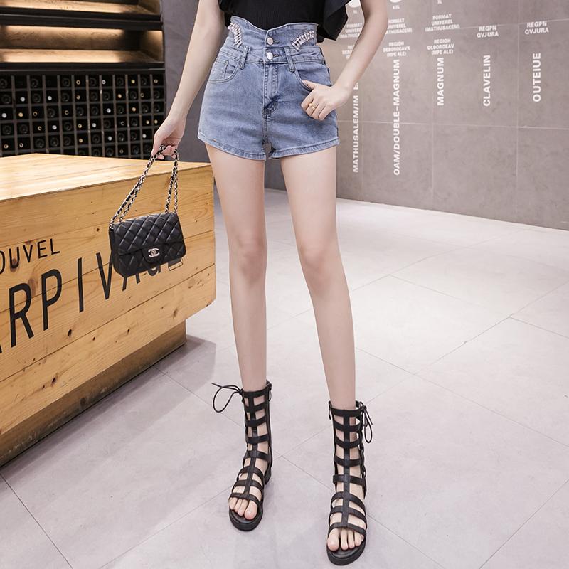 韓国 ファッション パンツ ショート ボトムス 春 夏 カジュアル PTXJ798  ハイウエスト ビジュー ウエストマーク オルチャン シンプル 定番 セレカジの写真5枚目