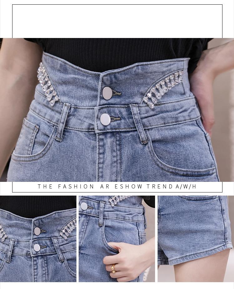 韓国 ファッション パンツ ショート ボトムス 春 夏 カジュアル PTXJ798  ハイウエスト ビジュー ウエストマーク オルチャン シンプル 定番 セレカジの写真11枚目