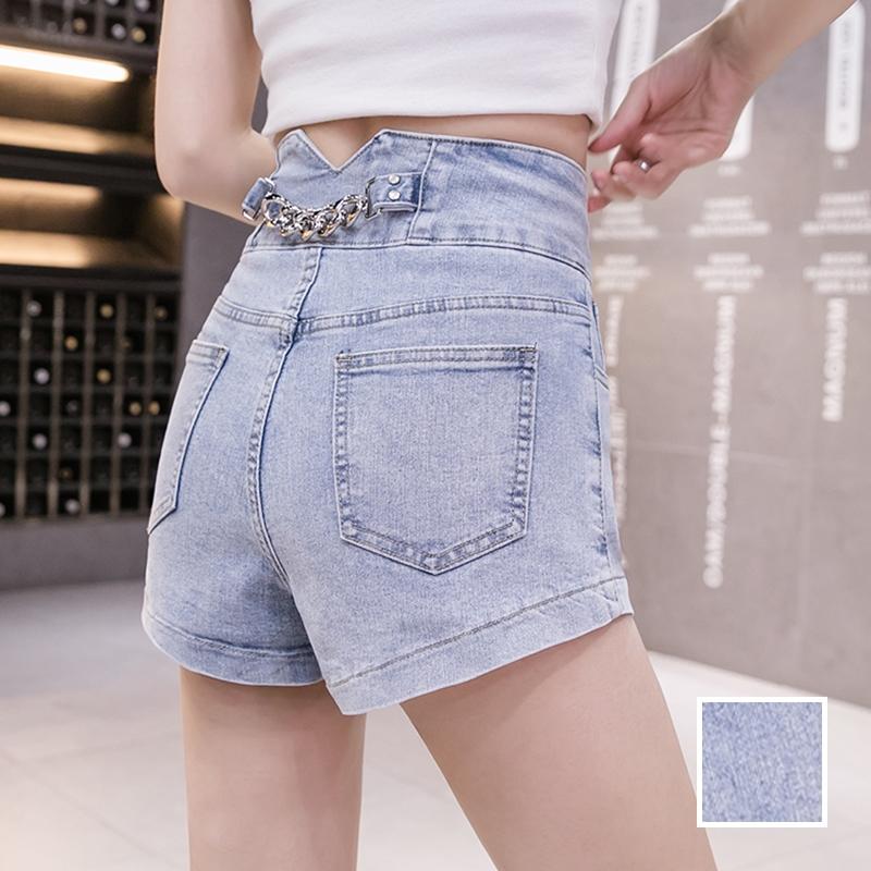韓国 ファッション パンツ ショート ボトムス 春 夏 カジュアル PTXJ801  チェーン バックコンシャス ハイウエスト オルチャン シンプル 定番 セレカジの写真1枚目