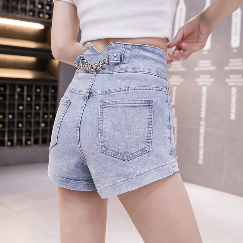 韓国 ファッション パンツ ショート ボトムス 春 夏 カジュアル PTXJ801  チェーン バックコンシャス ハイウエスト オルチャン シンプル 定番 セレカジの写真2枚目