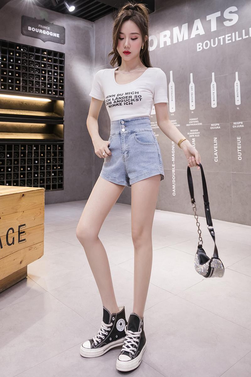 韓国 ファッション パンツ ショート ボトムス 春 夏 カジュアル PTXJ801  チェーン バックコンシャス ハイウエスト オルチャン シンプル 定番 セレカジの写真6枚目