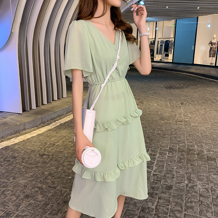 韓国 ファッション ワンピース 春 夏 カジュアル PTXJ805  フレア袖 ノーカラー フリル ティアード オルチャン シンプル 定番 セレカジの写真2枚目