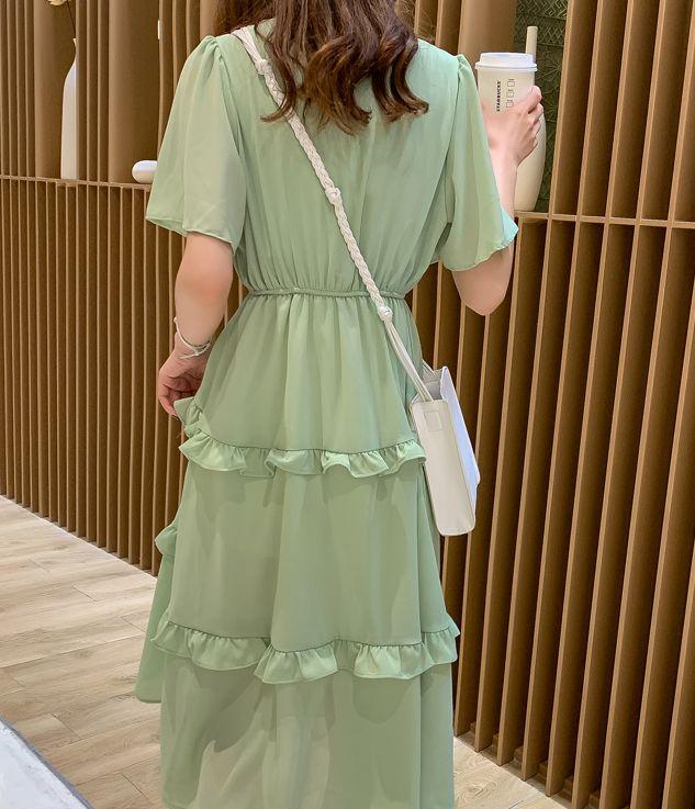 韓国 ファッション ワンピース 春 夏 カジュアル PTXJ805  フレア袖 ノーカラー フリル ティアード オルチャン シンプル 定番 セレカジの写真5枚目