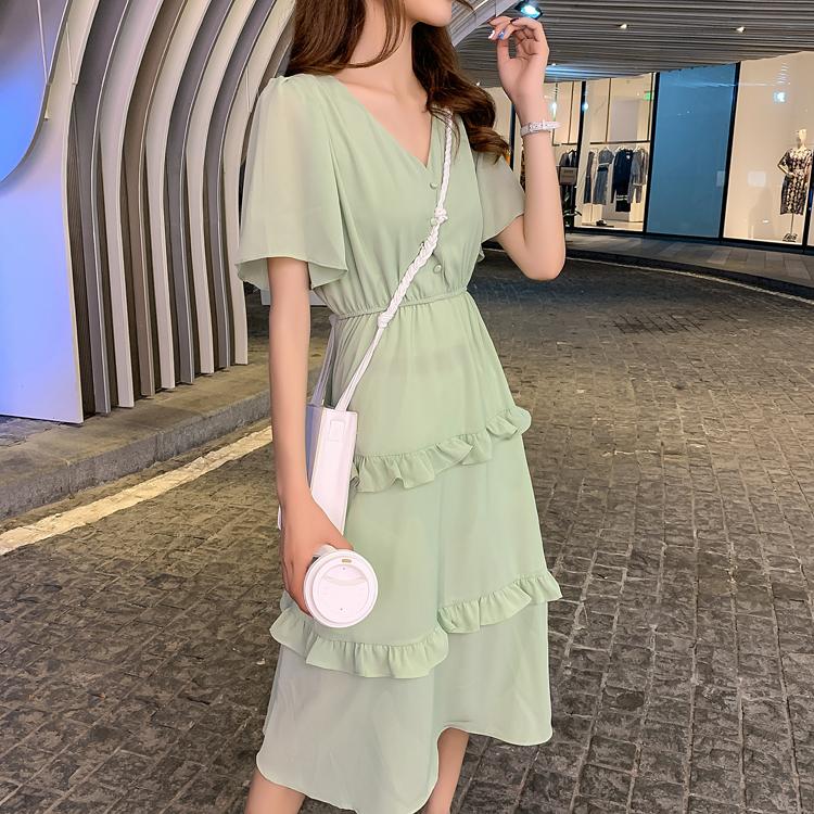韓国 ファッション ワンピース 春 夏 カジュアル PTXJ805  フレア袖 ノーカラー フリル ティアード オルチャン シンプル 定番 セレカジの写真8枚目