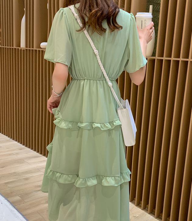 韓国 ファッション ワンピース 春 夏 カジュアル PTXJ805  フレア袖 ノーカラー フリル ティアード オルチャン シンプル 定番 セレカジの写真12枚目