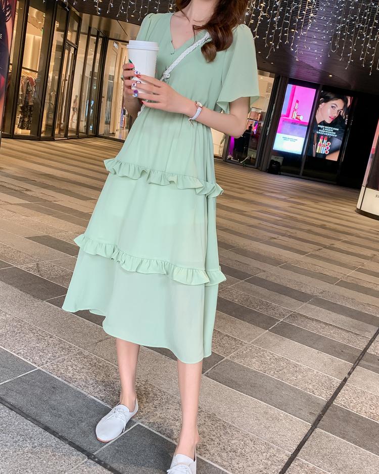 韓国 ファッション ワンピース 春 夏 カジュアル PTXJ805  フレア袖 ノーカラー フリル ティアード オルチャン シンプル 定番 セレカジの写真16枚目