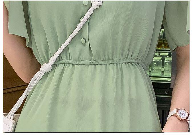 韓国 ファッション ワンピース 春 夏 カジュアル PTXJ805  フレア袖 ノーカラー フリル ティアード オルチャン シンプル 定番 セレカジの写真19枚目