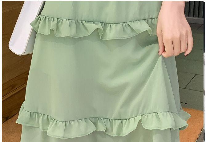 韓国 ファッション ワンピース 春 夏 カジュアル PTXJ805  フレア袖 ノーカラー フリル ティアード オルチャン シンプル 定番 セレカジの写真20枚目