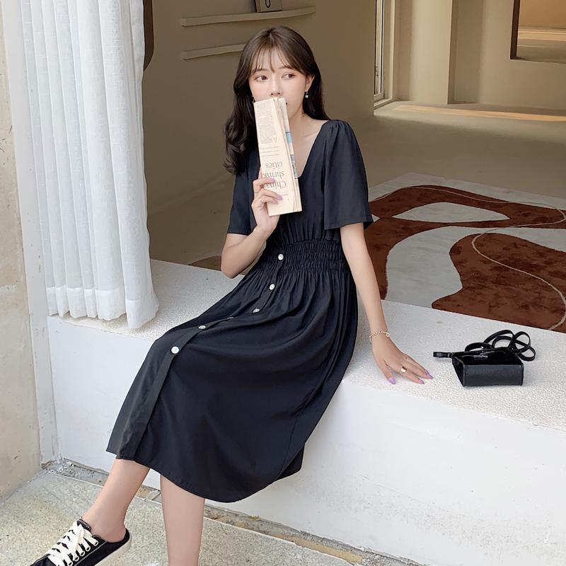 韓国 ファッション ワンピース 春 夏 カジュアル PTXJ807  スクエアネック フロントボタン ギャザー オルチャン シンプル 定番 セレカジの写真3枚目