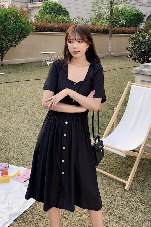 韓国 ファッション ワンピース 春 夏 カジュアル PTXJ807  スクエアネック フロントボタン ギャザー オルチャン シンプル 定番 セレカジの写真6枚目