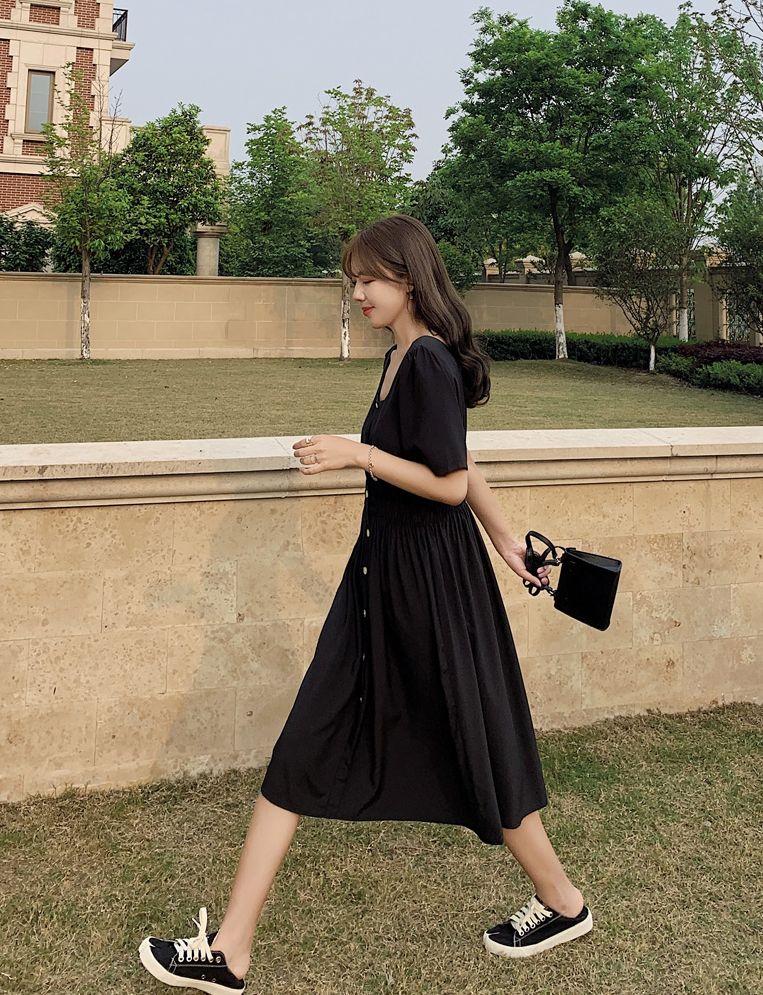 韓国 ファッション ワンピース 春 夏 カジュアル PTXJ807  スクエアネック フロントボタン ギャザー オルチャン シンプル 定番 セレカジの写真12枚目