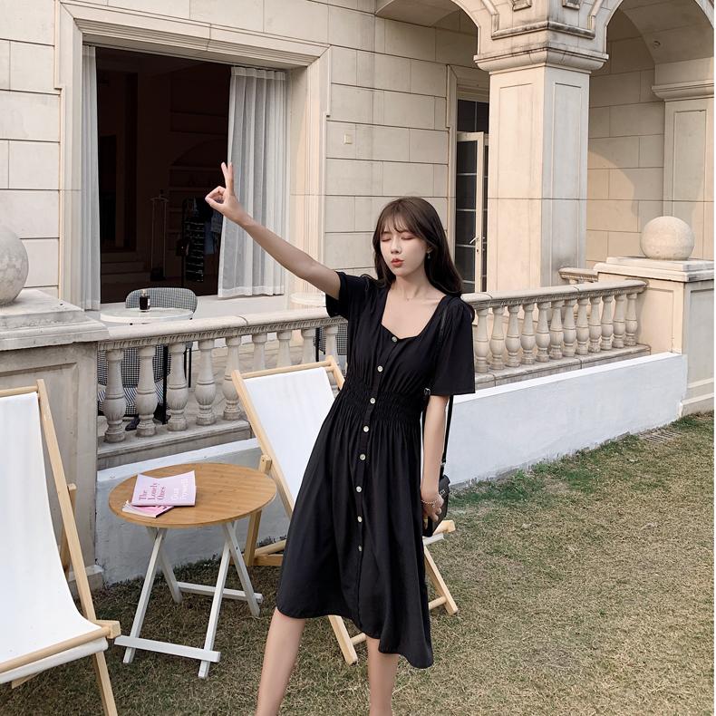 韓国 ファッション ワンピース 春 夏 カジュアル PTXJ807  スクエアネック フロントボタン ギャザー オルチャン シンプル 定番 セレカジの写真17枚目