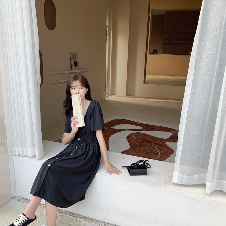 韓国 ファッション ワンピース 春 夏 カジュアル PTXJ807  スクエアネック フロントボタン ギャザー オルチャン シンプル 定番 セレカジの写真19枚目