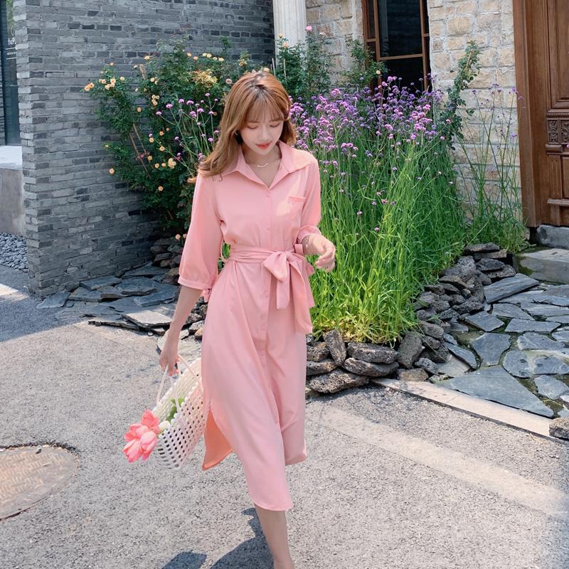 韓国 ファッション ワンピース 春 夏 カジュアル PTXJ813  シアー ゆるタイト イレギュラーヘム ドレープ オルチャン シンプル 定番 セレカジの写真5枚目