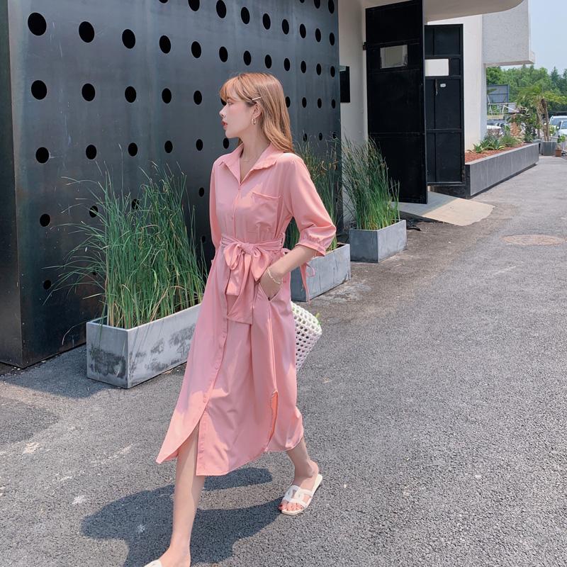 韓国 ファッション ワンピース 春 夏 カジュアル PTXJ813  シアー ゆるタイト イレギュラーヘム ドレープ オルチャン シンプル 定番 セレカジの写真6枚目