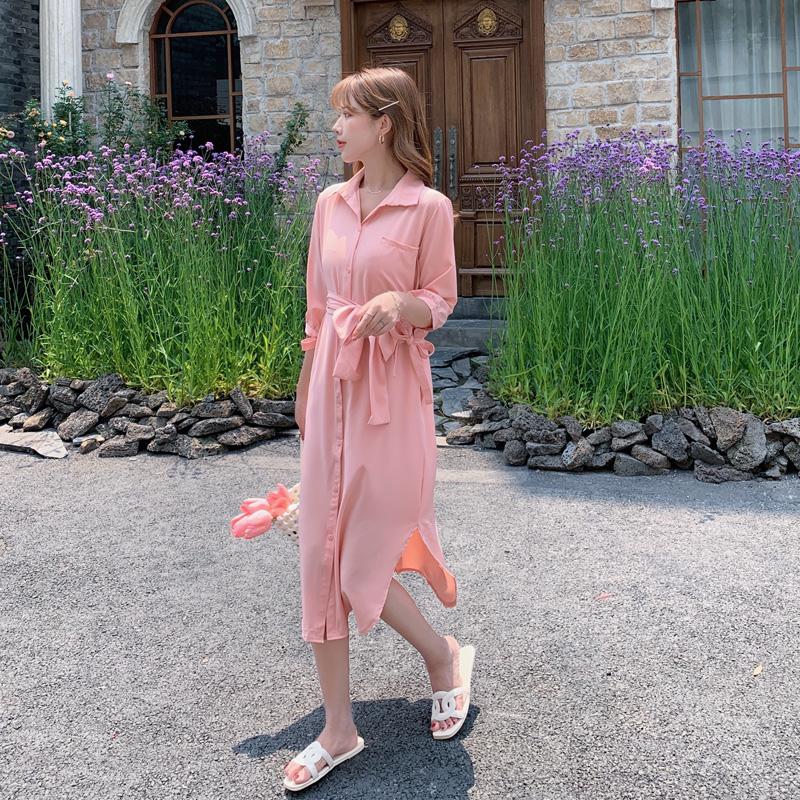韓国 ファッション ワンピース 春 夏 カジュアル PTXJ813  シアー ゆるタイト イレギュラーヘム ドレープ オルチャン シンプル 定番 セレカジの写真13枚目