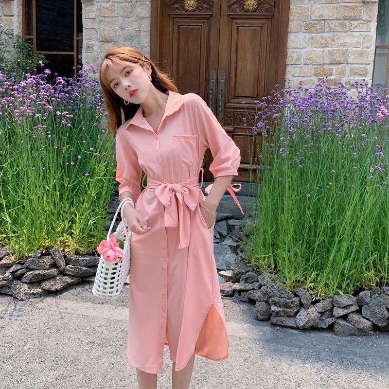 韓国 ファッション ワンピース 春 夏 カジュアル PTXJ813  シアー ゆるタイト イレギュラーヘム ドレープ オルチャン シンプル 定番 セレカジの写真16枚目