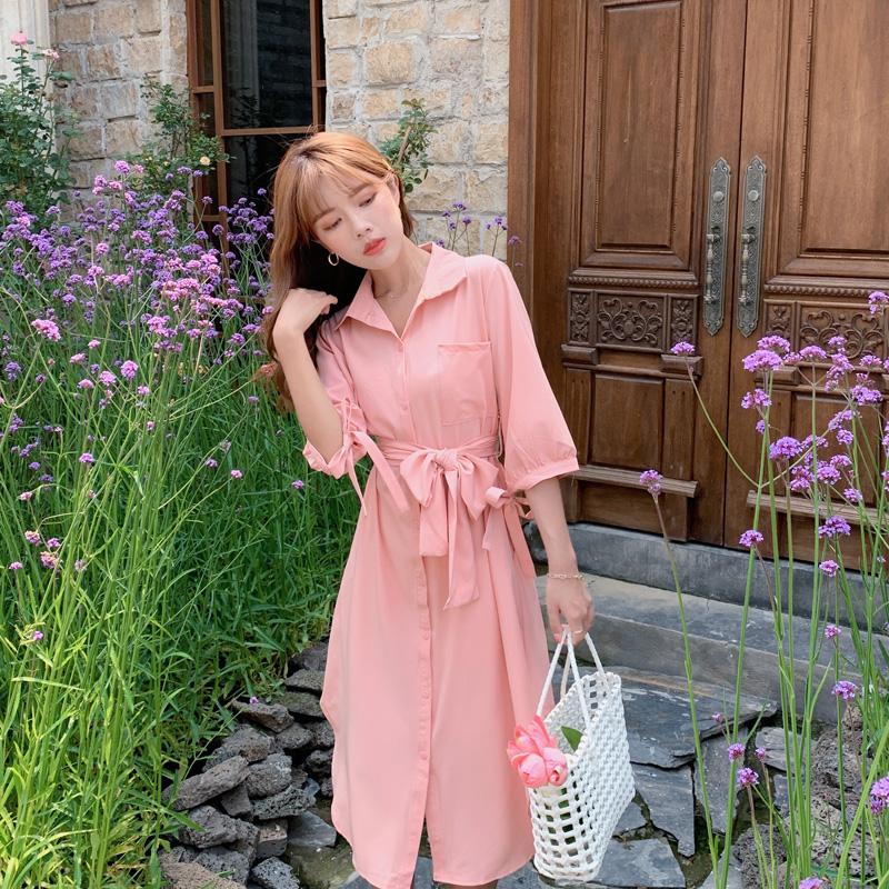 韓国 ファッション ワンピース 春 夏 カジュアル PTXJ813  シアー ゆるタイト イレギュラーヘム ドレープ オルチャン シンプル 定番 セレカジの写真18枚目