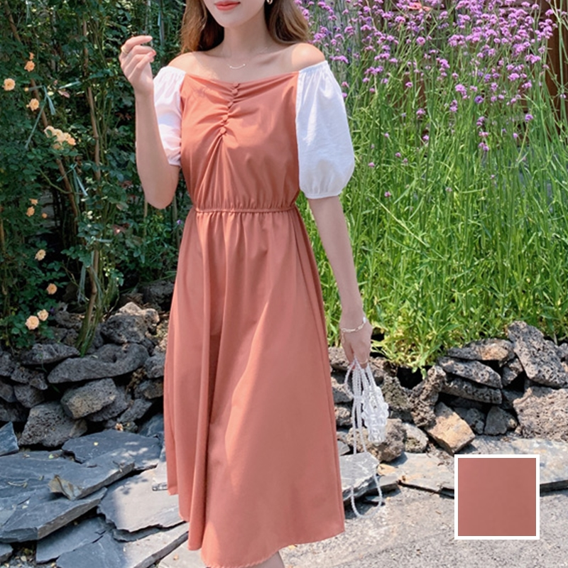 韓国 ファッション ワンピース 春 夏 カジュアル PTXJ814  バルーンスリーブ ギャザー フレア Aライン オルチャン シンプル 定番 セレカジの写真1枚目