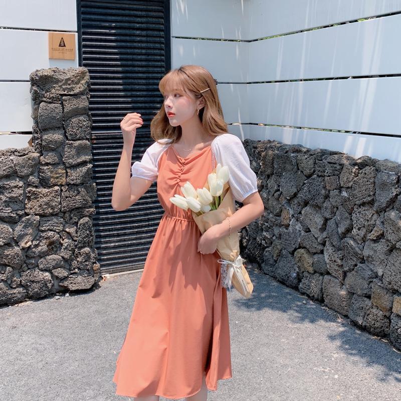 韓国 ファッション ワンピース 春 夏 カジュアル PTXJ814  バルーンスリーブ ギャザー フレア Aライン オルチャン シンプル 定番 セレカジの写真3枚目