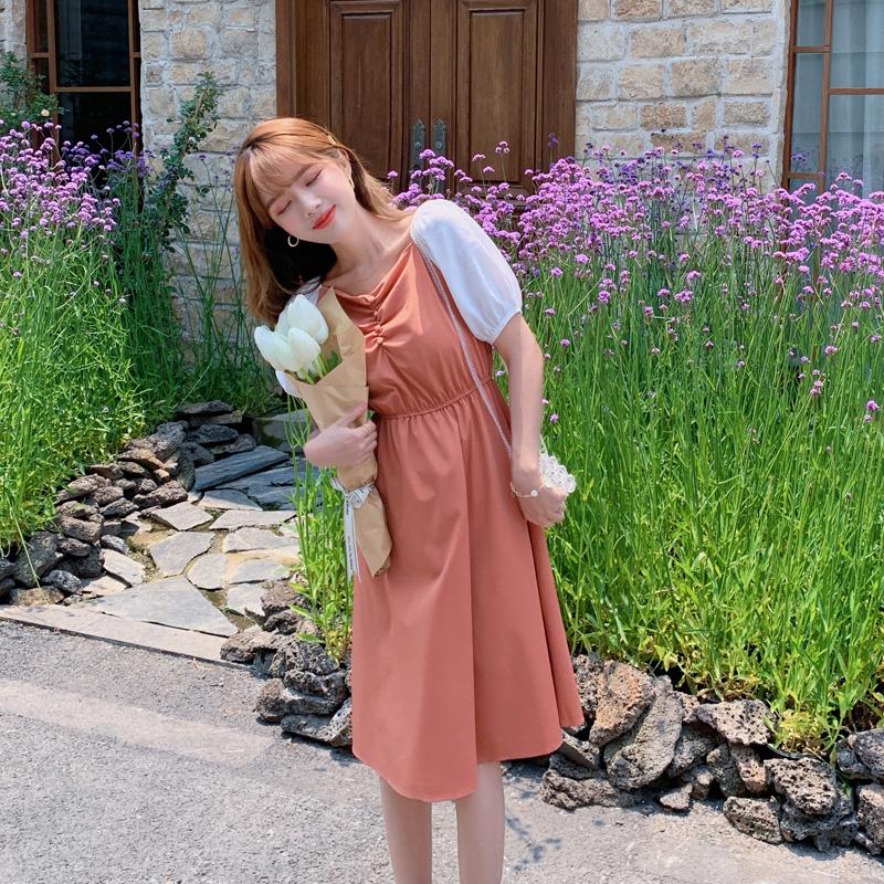 韓国 ファッション ワンピース 春 夏 カジュアル PTXJ814  バルーンスリーブ ギャザー フレア Aライン オルチャン シンプル 定番 セレカジの写真6枚目