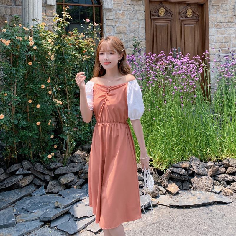 韓国 ファッション ワンピース 春 夏 カジュアル PTXJ814  バルーンスリーブ ギャザー フレア Aライン オルチャン シンプル 定番 セレカジの写真7枚目