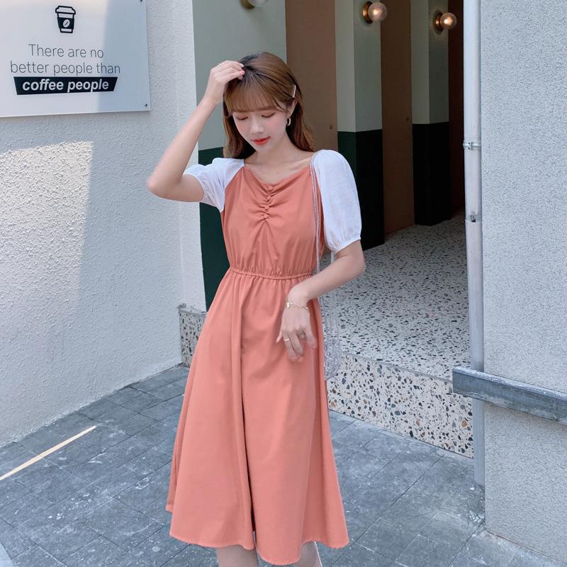 韓国 ファッション ワンピース 春 夏 カジュアル PTXJ814  バルーンスリーブ ギャザー フレア Aライン オルチャン シンプル 定番 セレカジの写真8枚目