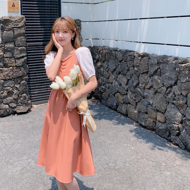 韓国 ファッション ワンピース 春 夏 カジュアル PTXJ814  バルーンスリーブ ギャザー フレア Aライン オルチャン シンプル 定番 セレカジの写真11枚目