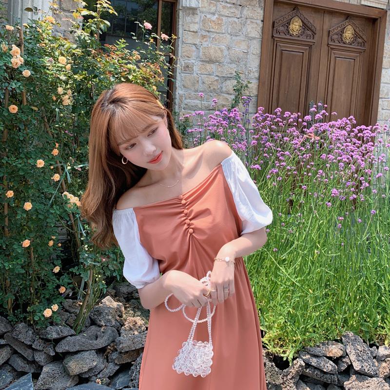 韓国 ファッション ワンピース 春 夏 カジュアル PTXJ814  バルーンスリーブ ギャザー フレア Aライン オルチャン シンプル 定番 セレカジの写真18枚目