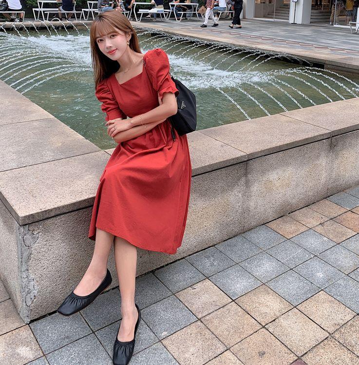 韓国 ファッション ワンピース 春 夏 カジュアル PTXJ816  パフスリーブ スクエアネック ハイウエスト オルチャン シンプル 定番 セレカジの写真2枚目