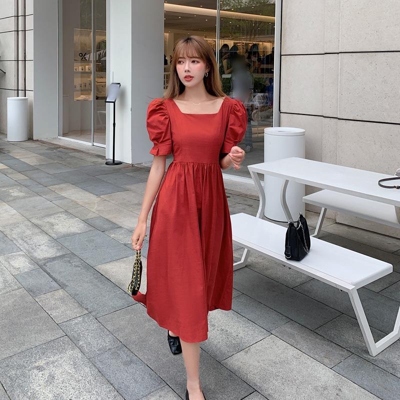 韓国 ファッション ワンピース 春 夏 カジュアル PTXJ816  パフスリーブ スクエアネック ハイウエスト オルチャン シンプル 定番 セレカジの写真3枚目