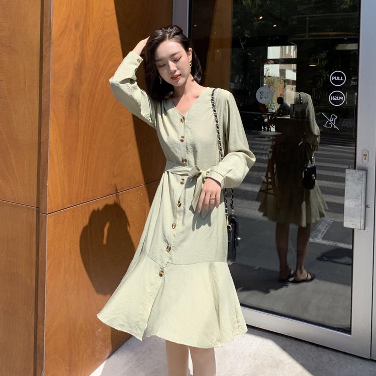 韓国 ファッション ワンピース 春 夏 カジュアル PTXJ828  シアー ノーカラー オーバーサイズ マーメイド オルチャン シンプル 定番 セレカジの写真2枚目