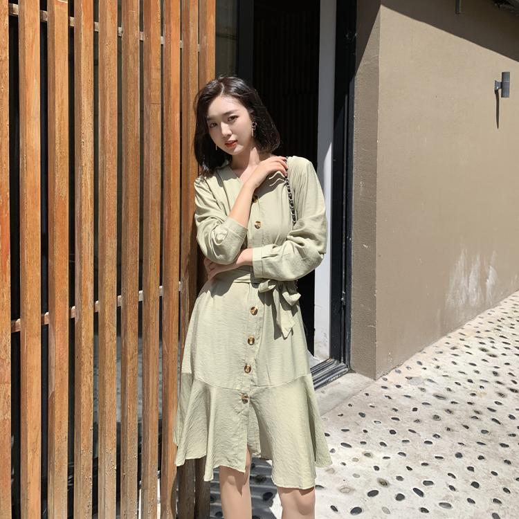 韓国 ファッション ワンピース 春 夏 カジュアル PTXJ828  シアー ノーカラー オーバーサイズ マーメイド オルチャン シンプル 定番 セレカジの写真3枚目
