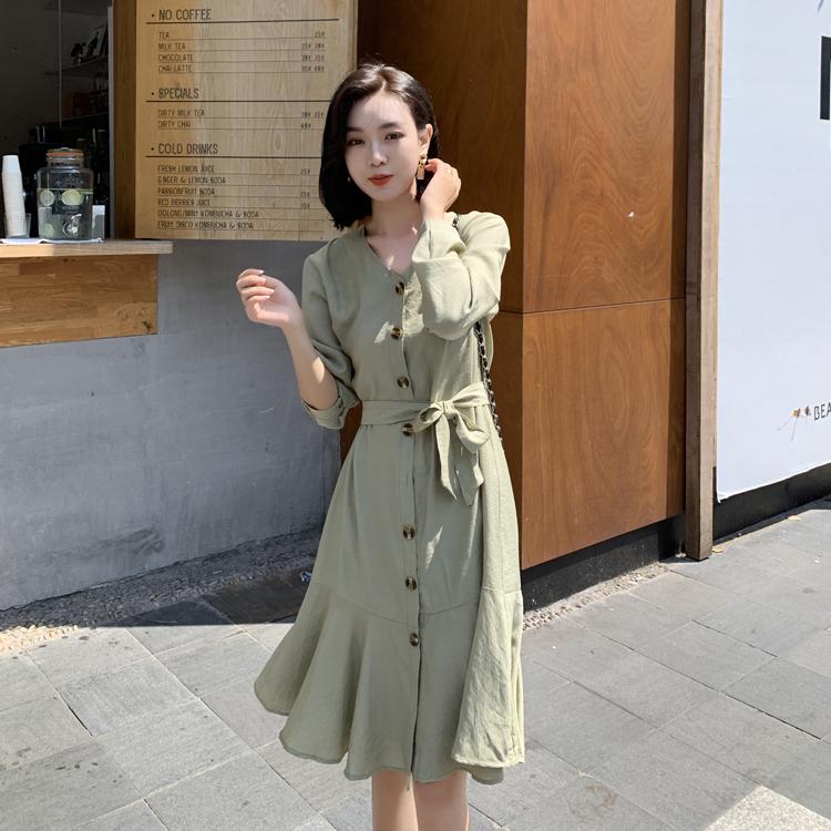 韓国 ファッション ワンピース 春 夏 カジュアル PTXJ828  シアー ノーカラー オーバーサイズ マーメイド オルチャン シンプル 定番 セレカジの写真4枚目