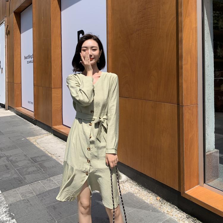 韓国 ファッション ワンピース 春 夏 カジュアル PTXJ828  シアー ノーカラー オーバーサイズ マーメイド オルチャン シンプル 定番 セレカジの写真12枚目