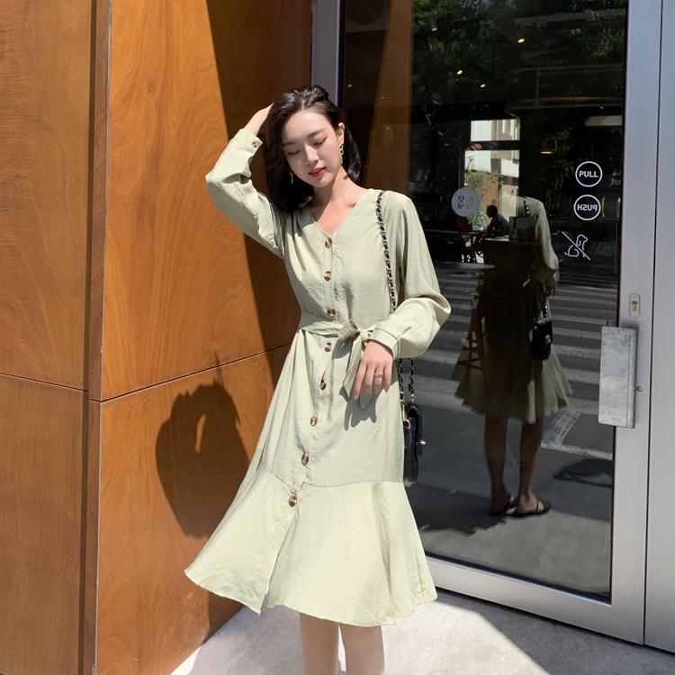 韓国 ファッション ワンピース 春 夏 カジュアル PTXJ828  シアー ノーカラー オーバーサイズ マーメイド オルチャン シンプル 定番 セレカジの写真15枚目