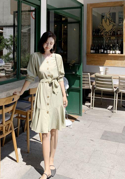 韓国 ファッション ワンピース 春 夏 カジュアル PTXJ828  シアー ノーカラー オーバーサイズ マーメイド オルチャン シンプル 定番 セレカジの写真18枚目