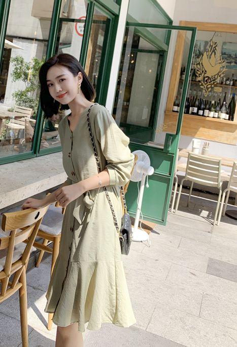 韓国 ファッション ワンピース 春 夏 カジュアル PTXJ828  シアー ノーカラー オーバーサイズ マーメイド オルチャン シンプル 定番 セレカジの写真19枚目