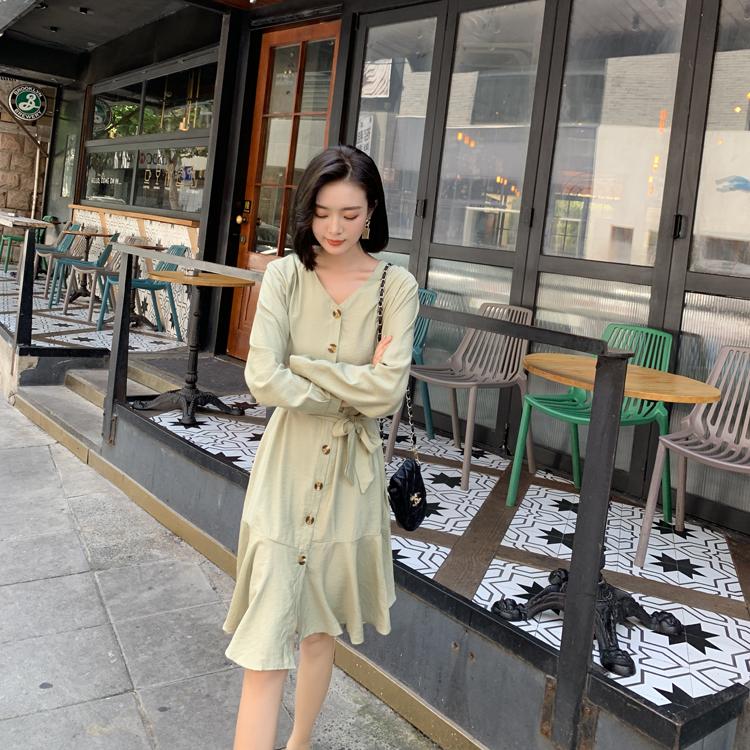 韓国 ファッション ワンピース 春 夏 カジュアル PTXJ828  シアー ノーカラー オーバーサイズ マーメイド オルチャン シンプル 定番 セレカジの写真20枚目