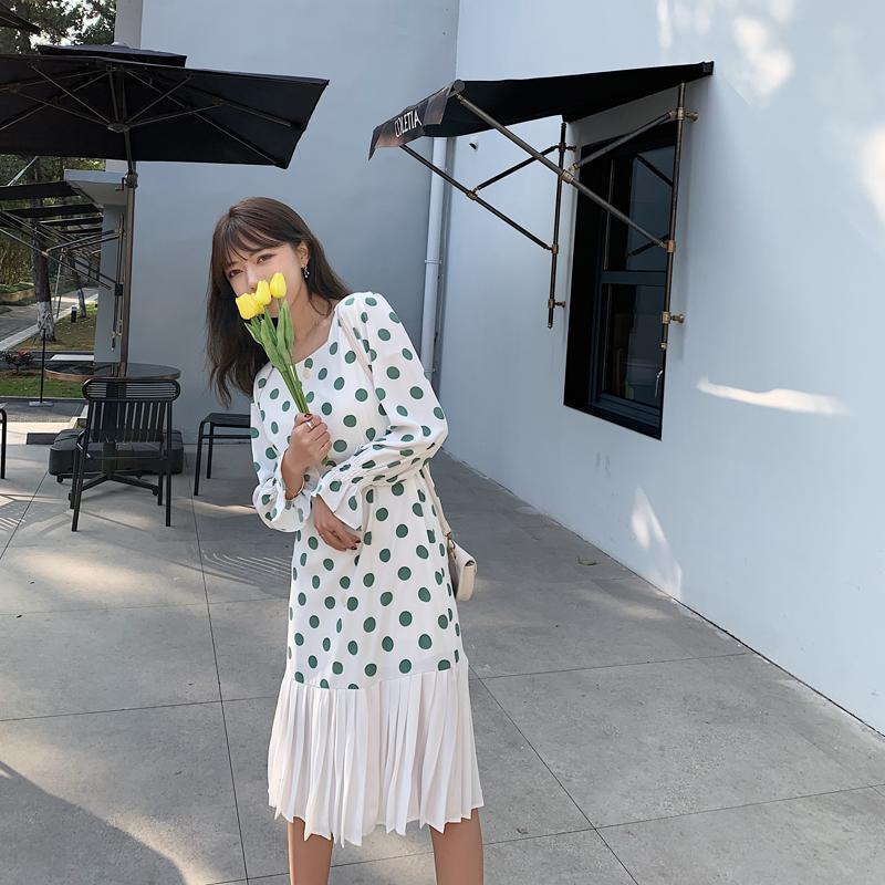 韓国 ファッション ワンピース 春 夏 カジュアル PTXJ830  プリーツ シアー マーメイド フロントボタン オルチャン シンプル 定番 セレカジの写真17枚目