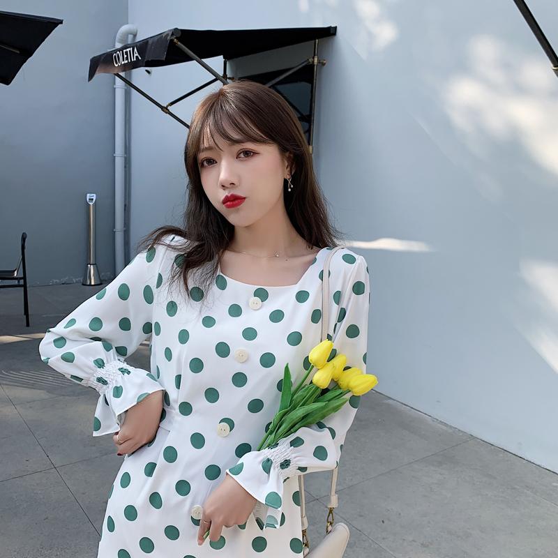 韓国 ファッション ワンピース 春 夏 カジュアル PTXJ830  プリーツ シアー マーメイド フロントボタン オルチャン シンプル 定番 セレカジの写真19枚目