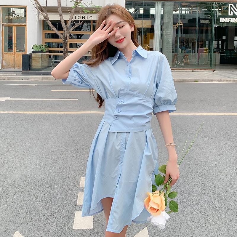 韓国 ファッション ワンピース 春 夏 カジュアル PTXJ956  太ベルト イレギュラーヘム パフスリーブ オルチャン シンプル 定番 セレカジの写真3枚目