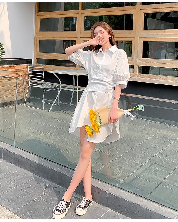 韓国 ファッション ワンピース 春 夏 カジュアル PTXJ956  太ベルト イレギュラーヘム パフスリーブ オルチャン シンプル 定番 セレカジの写真12枚目